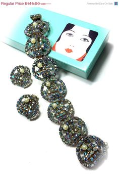 Alice Caviness Blue Aurora Borealis Glass Pearls Bracelet Earrings Demi
