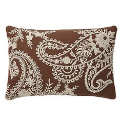 Natural Embroidered Paisley Accent Pillow Cover