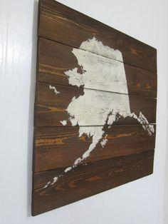 Items similar to Rustic Alaska Map Whitewash Cedar Wall Art x on Etsy Alaska Cabin, Alaska House, Cedar Walls, Disney Rooms, Alaska Travel, Travel Themes, Planks, Creative Home, Painting On Wood