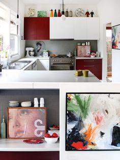 Colorblocked kitchen cabinets in the Melbourne home of Mariana Garcia-Katz.