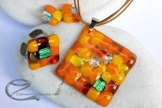 Sárga árnyalatok, mozaik, üvegékszer szett Glass Jewelry, Jewelry Sets
