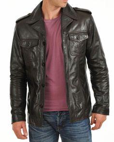 New Men's Genuine Lambskin Leather Jacket Black Slim fit Biker Motorcycle jacket Brown Leather Jacket Men, Lambskin Leather Jacket, Biker Leather, Faux Leather Jackets, Leather Men, Vintage Leather, Black Leather, Brown Blazer, Vintage Coat