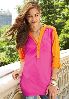 Love this color combo for this blouse: tangerine and watermelon.