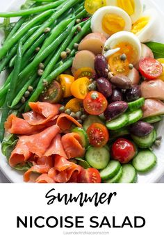 This French Smoked Salmon Nicoise is loaded with flavor. It's easy to make, hearty and perfect as a summer dinner recipe or party side dish. Salat Nicoise, Salmon Nicoise Salad, Smoked Salmon Salad, Salmon Salad Recipes, Smoked Salmon Recipes, Summer Salad Recipes, Easy Salad Recipes, Healthy Recipes, Salade Nicoise Recipe