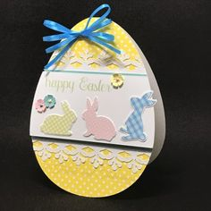 With Easter quickly approaching I decided to make another themed card to share with everyone. This little card is super easy to assemble, think volume, and is simply adorable with the egg shaped base and little bunnies.   #card #cardstock #cricut design space #cricut news #easter #holidays