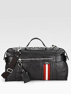 Bally Perforated Leather Travel Duffle