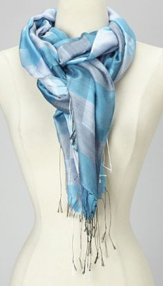 Turquoise & Gray Plaid Silk Scarf