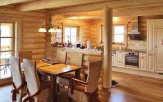 Rundstammwohnhaus - 25 cm Stammstärke Kitchen Room Design, House Inside, Love Home, Sweet Home, Table, Inspiration, Furniture, Home Decor, Ideas