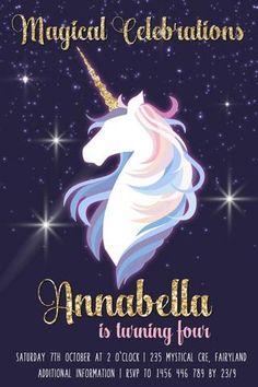 Gold and white unicorn birthday invitations, Unicorn Birthday Invitations, Unicorn Birthday Parties, 3rd Birthday, Personalized Invitations, Printable Invitations, Unicorn Party Supplies, Sleepover Party, White Unicorn, Party Ideas