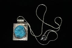 Aqua Blue Druzy Stone Necklace Hand Stamped by @TheSilverCrow, $125.00