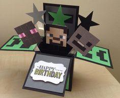 Items similar to Handmade Card in a box, minecraft /Skylander theme birthday pop up card. on Etsy Minecraft Cards, Minecraft Birthday Card, Birthday Card Pop Up, Tarjetas Stampin Up, Stampin Up Cards, Boy Cards, Kids Cards, Cadeau Surprise, Pop Up Box Cards