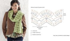 ::crocheted pattern for a chevron scarf::