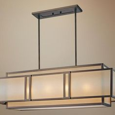 French Iron Charles Rectangular Chandelier 8 Light Rectangular