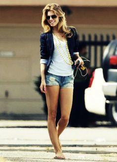 jean shorts & blazer