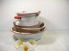 Very Large Antique Red on White EnamelWare Round by DivineOrders