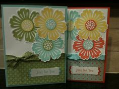 Card made with the Mixed Bunch stamp set by Stampin' Up! Designed by Terri Willingham. Colors - Daffodil Delight, Calypso Coral, Pool Party, Lucky Limeade.
