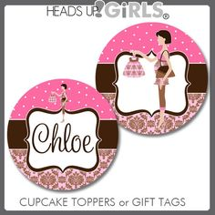 Personalized Pink and Brown Damask Mom Cupcake Toppers or Gift Tags for Baby Showers by HeadsUpGirls, $8.00