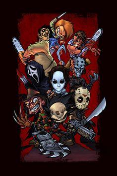 A list of Best Animated Horror Cartoon Characters and stop motion Horror Cartoons and Characters. Horror Movie Characters, Horror Movies, Comedy Movies, Jason Freddy Krueger, Posca Art, Horror Artwork, Horror Icons, Horror Cartoon, Arte Horror