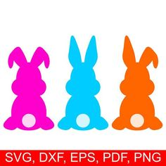 Easter Bunny SVG cut file and Easter Rabbit clipart, set of 3 assorted Easter Bunnies Silhouettes Silhouette Cameo, Silhouette Studio, Rabbit Silhouette, Bunny Templates, Easter Bunny Template, Printable Templates, Free Printable, Rabbit Clipart, Rabbit Png