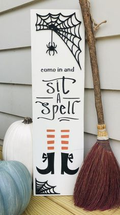 Halloween Wood Signs, Halloween Wood Crafts, Fall Wood Signs, Fall Signs, Fall Crafts, Halloween Diy, Wooden Signs, Holiday Crafts, Diy Crafts