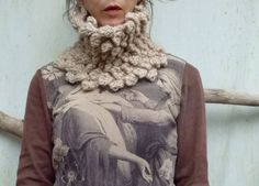 Bumble Bobble Cowl hand knitted bobble cowl in fawn by InnerWild