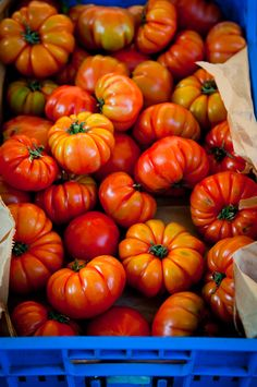 Heirloom tomatoes. The most incredible flavor. You'll never look at a mass-produced hot house the same way again!