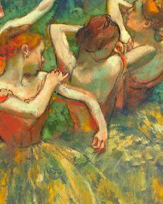 Four Dancers, (detail), by Edgar Degas. Complementary color scheme just glows in this one. Edgar Degas, Claude Monet, Georges Seurat, Franz Marc, Mary Cassatt, Renoir, Illustrations, Illustration Art, Degas Drawings