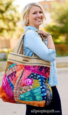 Crazy Patch Tote by Nancy Shamy of Kenzie Mac & Co. Quilts and More Spring 2016 FAbrics Bookends collection by Marcia Derse for Windham Fabrics | AllPeopleQuilt.com