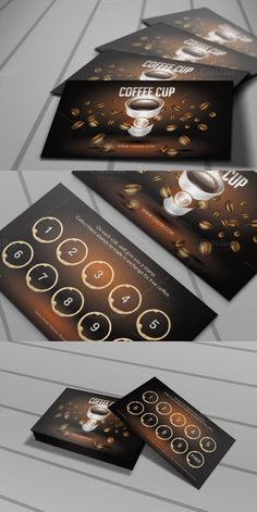 Coffee Cup Loyalty Card --- --- Features: Size: Bleed in Each Side Fully editable + Full layered Photoshop Version: or Higher Resolution: Loyalty Card Design, Loyalty Cards, Coffee Shop Logo, Coffee Shop Design, Coffee Punch, Coffee Cup, Coffee Coupons, Member Card, Cafe Branding