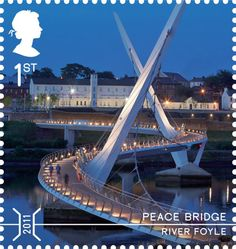 A new series of UK stamps celebrate achievements in engineering: A stamp depicting Peace Bridge crossing River Foyle.