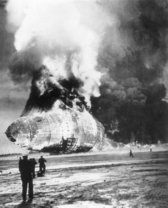 The Hindenburg burns on the ground on May 6, 1937 at Lakehurst, N.J.