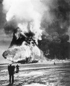 The Hindenburg burns on the ground on May 6, 1937 at Lakehurst, N.J.