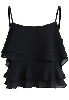 Tiered Animation Chiffon Cold-shoulder Top in Black- New Arrivals - Retro, Indie and Unique Fashion