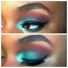 Makeup by SenojMG Beautiful blending! Aqua blue green brown orange eyeshadow wing liner photoshoot beauty glamour fashion brows