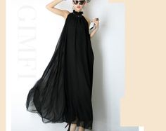 SOMEONE HAS TO WEAR THIS!!!!!! black chiffon dress maxi dress long dress plus by DressOriginal, $46.80