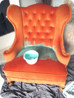 My House of Giggles: Tufted Wing Chair Makeover (Painting Upholstery) This makeover gives me hope that I can paint my two orange couches