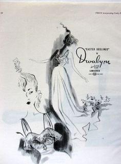 1949 DWALYNE Handmade NIGHTGOWNS Easter Goslings art Vintage LINGERIE Print Ad