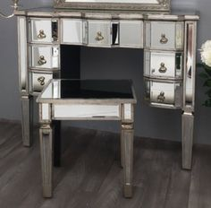 Mirrored Dressing Table Vintage Antique Silver Wood Drawers Bevelled Glass Legs