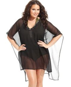 House of LaRoux Plus Size Cover Up, Chiffon Beaded Poncho Women's Swimsuit
