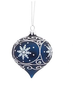 35 Matte Navy Blue Glass Onion Shaped Christmas Ornament with White Glitter Designs -- Check this awesome product by going to the link at the image.