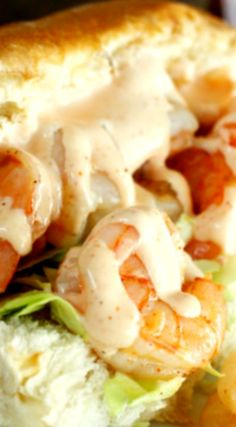 Shrimp Po Boys with Creamy Cajun Sauce ~ Simply amazing... You are going to LOVE how EASY they are to make and how TASTY they are - Tasty shrimp, soft bread, crunchy cabbage and a spicy, creamy sauce. A winning combination all-around!
