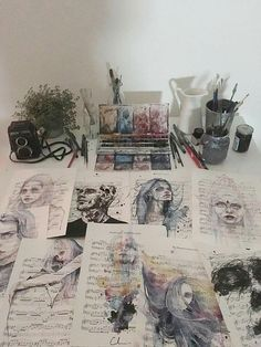 agnes cecile shared by Undici on We Heart It music sheet, art, and painting image A Level Art Sketchbook, Arte Sketchbook, A-level Kunst, Kunst Portfolio, Portfolio Design Books, Art Sketches, Art Drawings, Colorful Drawings, Art Alevel