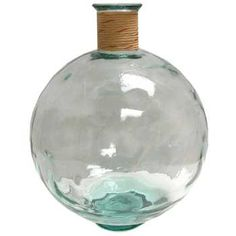 Clear Glass Pot Belly Vase with Raffia