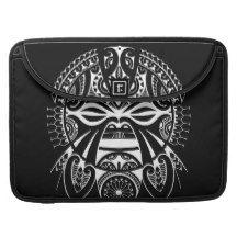 negative black tiki face mask design tatau koru MacBook pro sleeve