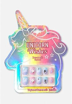 Justice is your one-stop-shop for on-trend styles in tween girls clothing & accessories. Shop our Unicorn Wishes Press On Nails. Little Girl Makeup Kit, Makeup Kit For Kids, Unicorn Nails, Unicorn Makeup, Cute Acrylic Nails, Cute Nails, Fake Nails For Kids, Braid Styles For Girls, My Little Pony Dolls