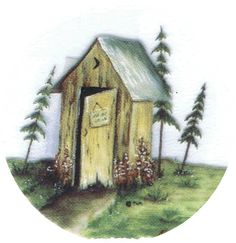 Image detail for -outhouse, pines, rustic, northwoods, pottery