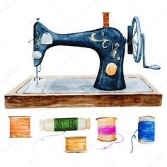Download - Vintage retro watercolor sewing machine — Stock Illustration