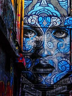 Blue street art Melbourne