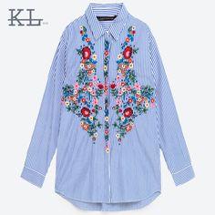 Striped Flower Embroidery Blouses Cute ZA Turn-down Collar Blouse Trendy Women Long Sleeve Casual HI-LO Side Split Shirt Top