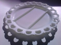 Large Vintage Milkglass Heart Lace Edged Relish Appetizer Vegetable Serving Dish Tray or Platter by TheCelticBelle on Etsy